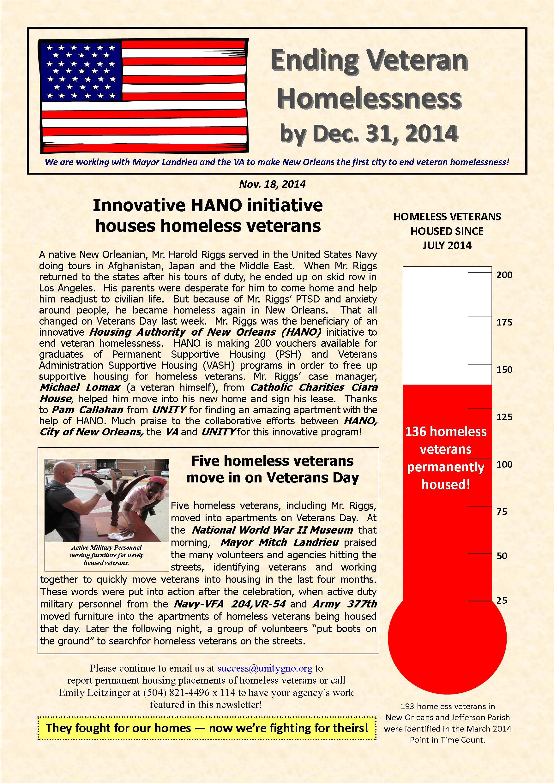 Ending Veteran Homelessness Weekly Newsletter — November 18, 2014