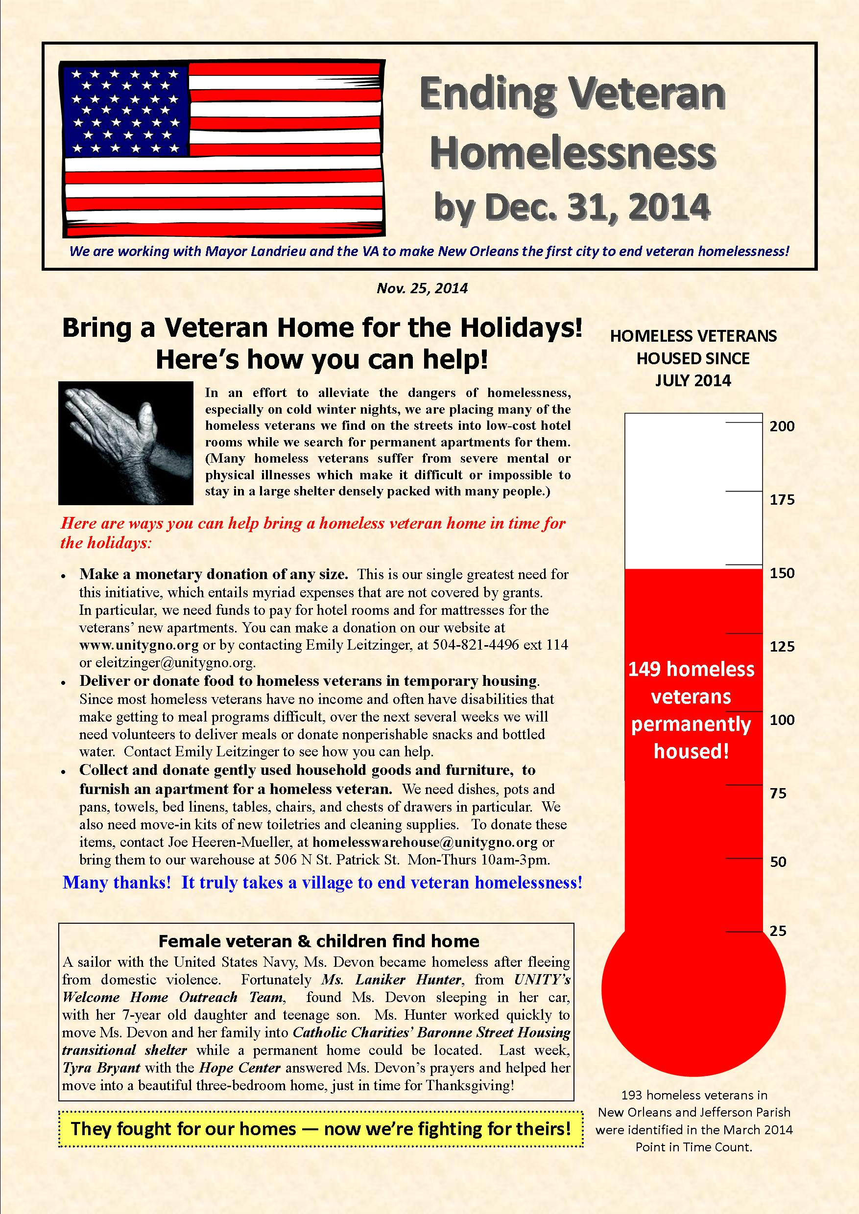 Help New Orleans become the first city in the nation to end veteran homelessness!
