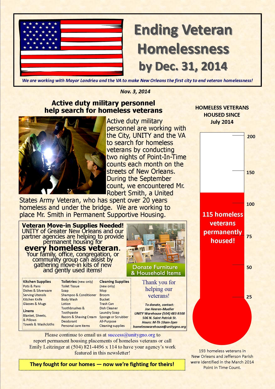 Ending Veteran Homelessness Weekly Newsletter 11.3.2014