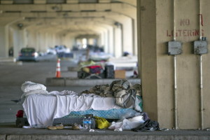 A Series of Beds Under an Overpass
