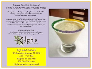 Come Join UNITY for a Sip and Social at Ralph's on the Park!